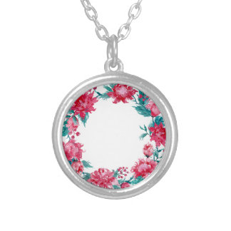 Watercolor Christmas peony wreath Silver Plated Necklace