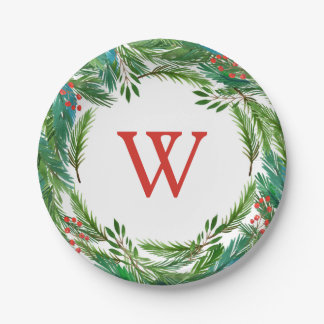 Watercolor Christmas Pine & Holly Frame Paper Plate