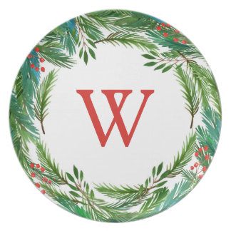 Watercolor Christmas Pine & Holly Frame Plate