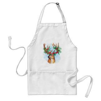 Watercolor Christmas Reindeer Apron