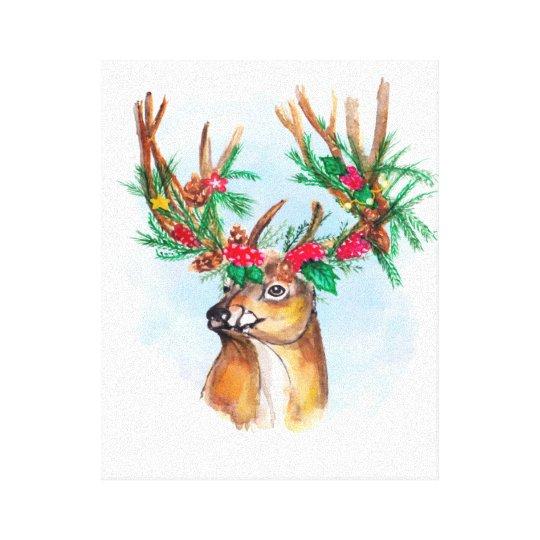 Watercolor Christmas Reindeer Canvas Print