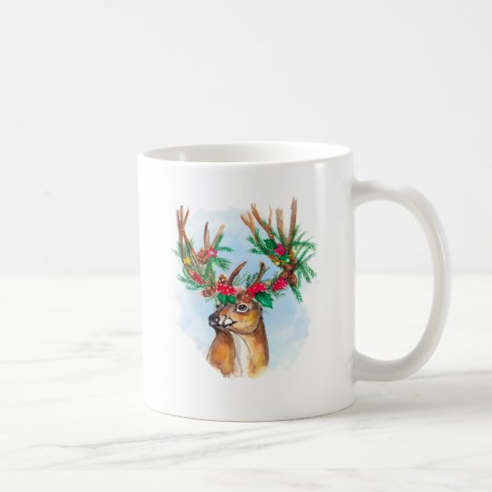 Watercolor Christmas Reindeer Mug