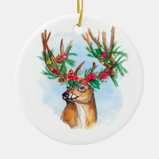 Watercolor Christmas Reindeer Ornament