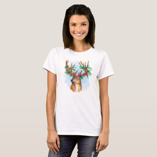 Watercolor Christmas Reindeer Tee Shirt