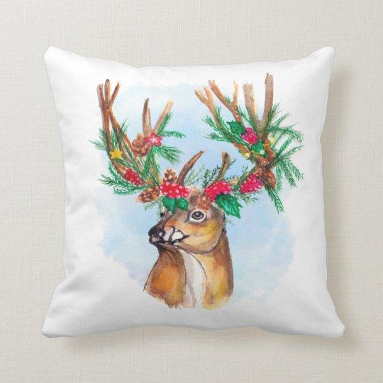 Watercolor Christmas Reindeer Throw Pillow