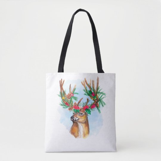 Watercolor Christmas Reindeer Tote Bag