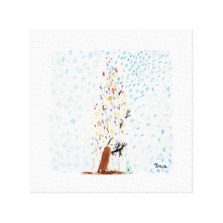 Watercolor Christmas Tree Canvas Wall Art Print