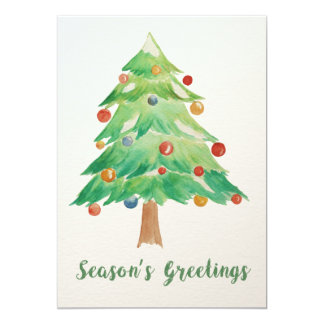 Watercolor Christmas Tree holidays card