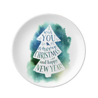 Watercolor Christmas Tree Message Plate