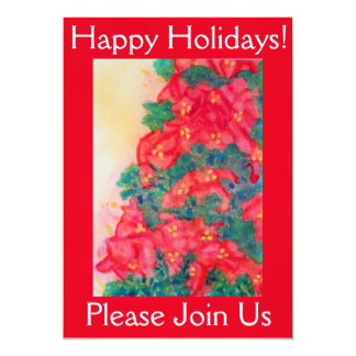 Watercolor Christmas Tree with Poinsettias Card