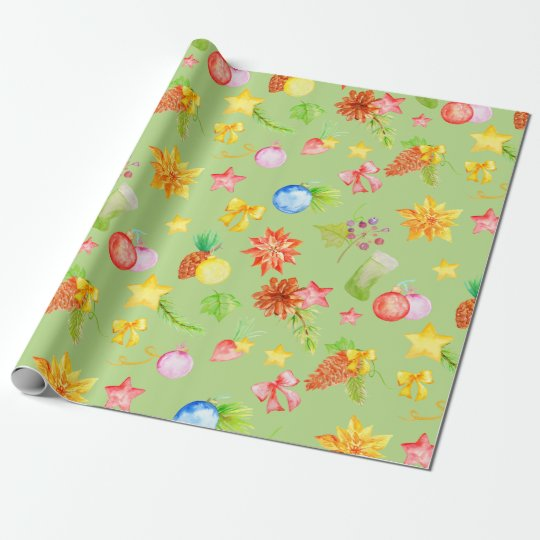 Watercolor Christmas Wrapping Paper Green