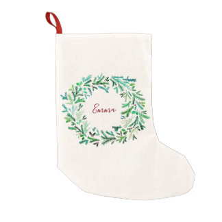 Watercolor Christmas Wreath Small Christmas Stocking
