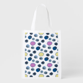 Watercolor circles reusable grocery bag