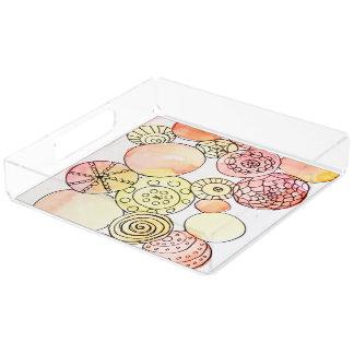 Watercolor Circles Yellow Orange Pink Doodles Fun Acrylic Tray