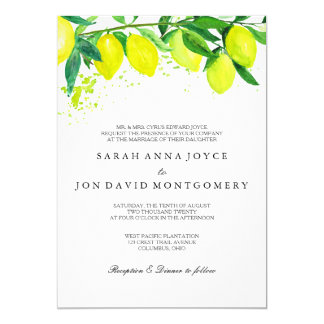 Watercolor Citrus/Lemon Wedding Invitation