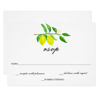 Watercolor Citrus/Lemon Wedding RSVP Card