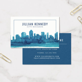 Watercolor City Skyline Business Card