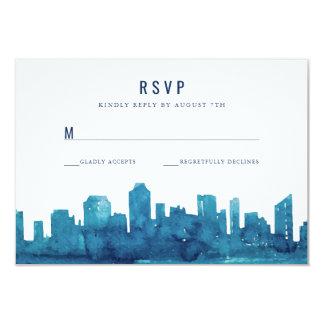 Watercolor City Skyline RSVP Card