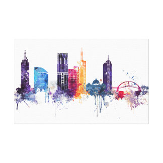 Watercolor cityscape of Melbourne city Canvas Print