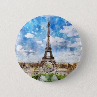 Watercolor Cityscape Paris, Eiffel Toward 2 Inch Round Button