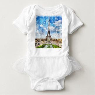 Watercolor Cityscape Paris, Eiffel Toward Baby Bodysuit