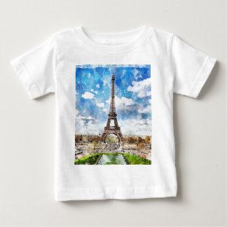 Watercolor Cityscape Paris, Eiffel Toward Baby T-Shirt