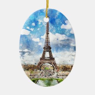 Watercolor Cityscape Paris, Eiffel Toward Ceramic Ornament