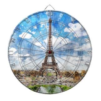 Watercolor Cityscape Paris, Eiffel Toward Dartboard