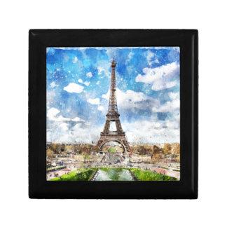 Watercolor Cityscape Paris, Eiffel Toward Gift Box