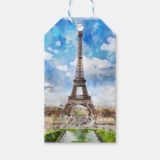 Watercolor Cityscape Paris, Eiffel Toward Gift Tags