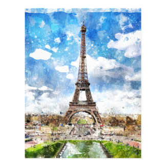 Watercolor Cityscape Paris, Eiffel Toward Letterhead