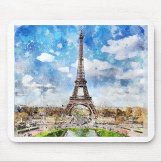 Watercolor Cityscape Paris, Eiffel Toward Mouse Pad