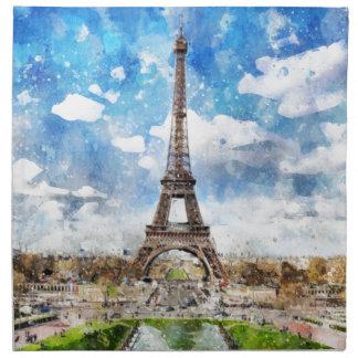 Watercolor Cityscape Paris, Eiffel Toward Napkin