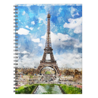 Watercolor Cityscape Paris, Eiffel Toward Notebook