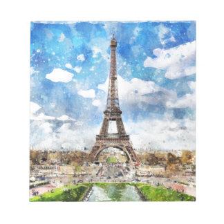 Watercolor Cityscape Paris, Eiffel Toward Notepad