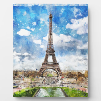 Watercolor Cityscape Paris, Eiffel Toward Plaque
