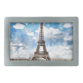 Watercolor Cityscape Paris, Eiffel Toward Rectangular Belt Buckle