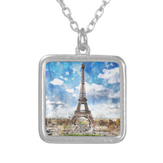 Watercolor Cityscape Paris, Eiffel Toward Silver Plated Necklace