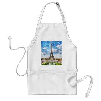 Watercolor Cityscape Paris, Eiffel Toward Standard Apron