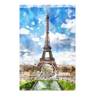 Watercolor Cityscape Paris, Eiffel Toward Stationery