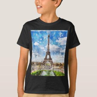 Watercolor Cityscape Paris, Eiffel Toward T-Shirt