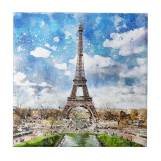 Watercolor Cityscape Paris, Eiffel Toward Tile