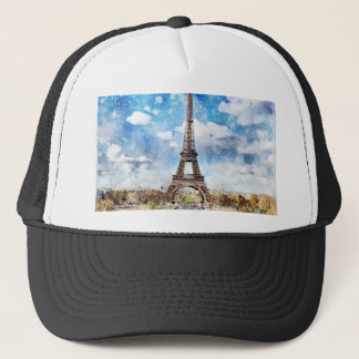 Watercolor Cityscape Paris, Eiffel Toward Trucker Hat
