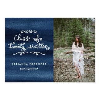 Watercolor Class Of 2016 Script Graduate Photo Card