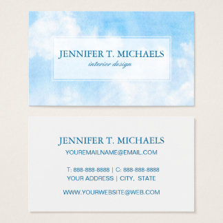 Watercolor clouds and sky background business card