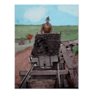 Watercolor Coal Miner Poster