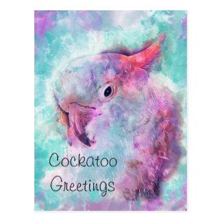 Watercolor cockatoo postcard