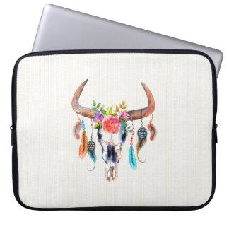 Watercolor Colorful Animal Skull Laptop Sleeve