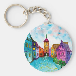Watercolor colorful european town illustration basic round button keychain