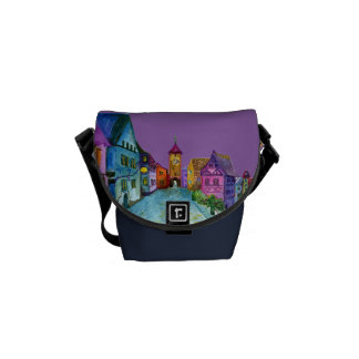 Watercolor colorful european town illustration courier bags